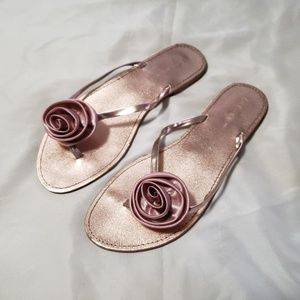 BCBG rose gold filp flops